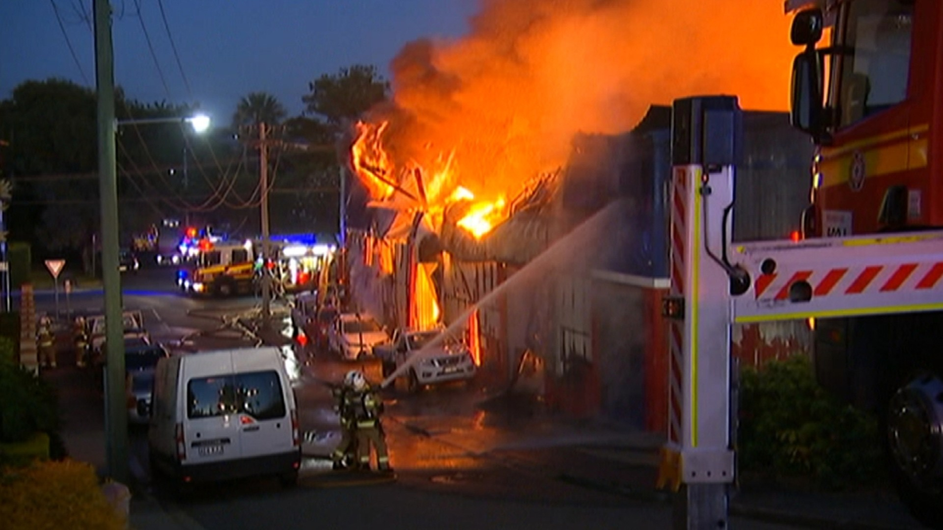 a brisbane car yard warehouse destroyedfire | sky news australia