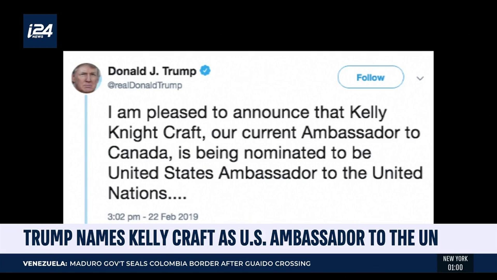 i24NEWS DESK | Trump names Kelly Craft as U S  ambassador to