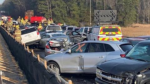 Nearly 70 vehicles involved in pileup crash in Virginia | Sky News Australia