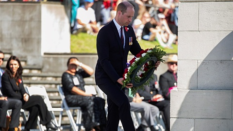 Prince William lays a wreath for Anzac Day in Auckland