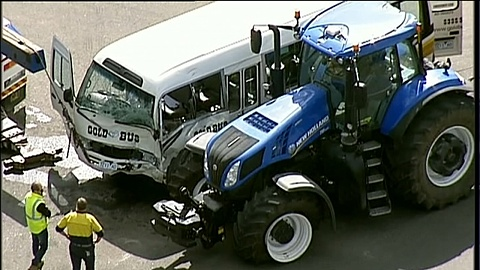 Over 20 hospitalised following minibus and tractor collision in Vic | Sky News Australia