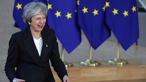 Triumphant Theresa May returns to Europe