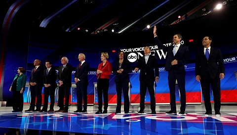 Democratic presidential candidate front-runners divided over healthcare | Sky News Australia