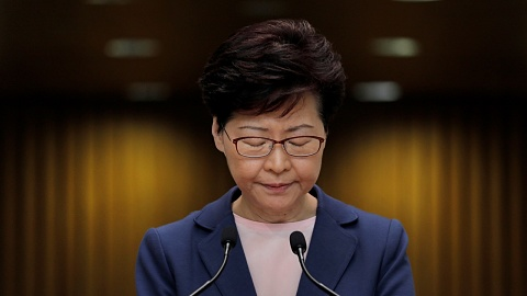 Carrie Lam forced to abandon speech after protests | Sky News Australia