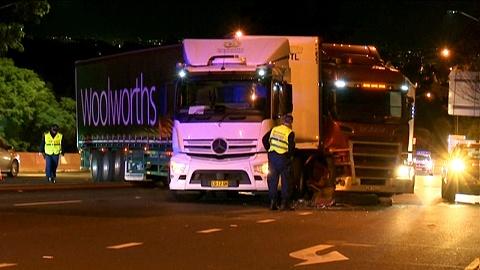 Brake failure causes semi-trailer crash on busy Sydney road | Sky News Australia