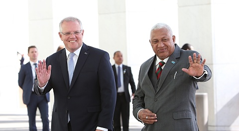Morrison in Fiji for footy and official talks   Sky News Australia