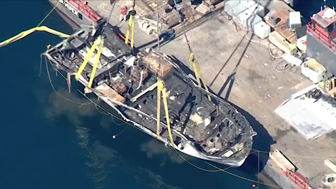 California diving boat raised to surface after fire that killed 34 | Sky News Australia