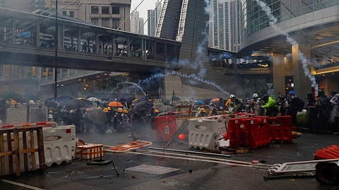 Police clash with Hong Kong protestors for 16th consecutive weekend   Sky News Australia