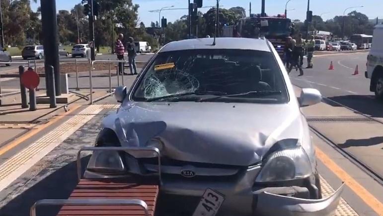 Car Crashes Into Adelaide Tram Stop Sky News Australia